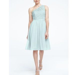 Short Corded Lace Dress w/ Asymmetric Neckline